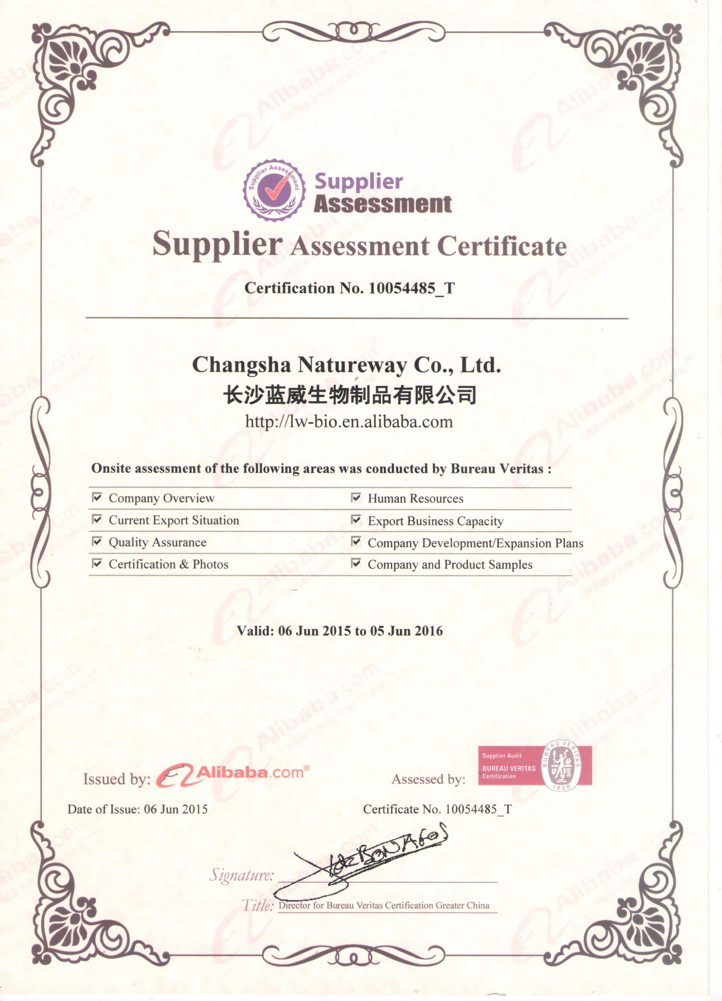 BV Quality System Certificated